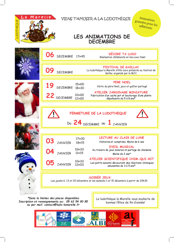 La Marelle ALbi vacances de noel decembre et janvier
