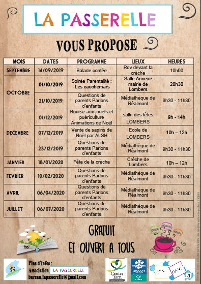 PROGRAMME 2019 2020 LA PASSERELLE LOMBERS REALMONT