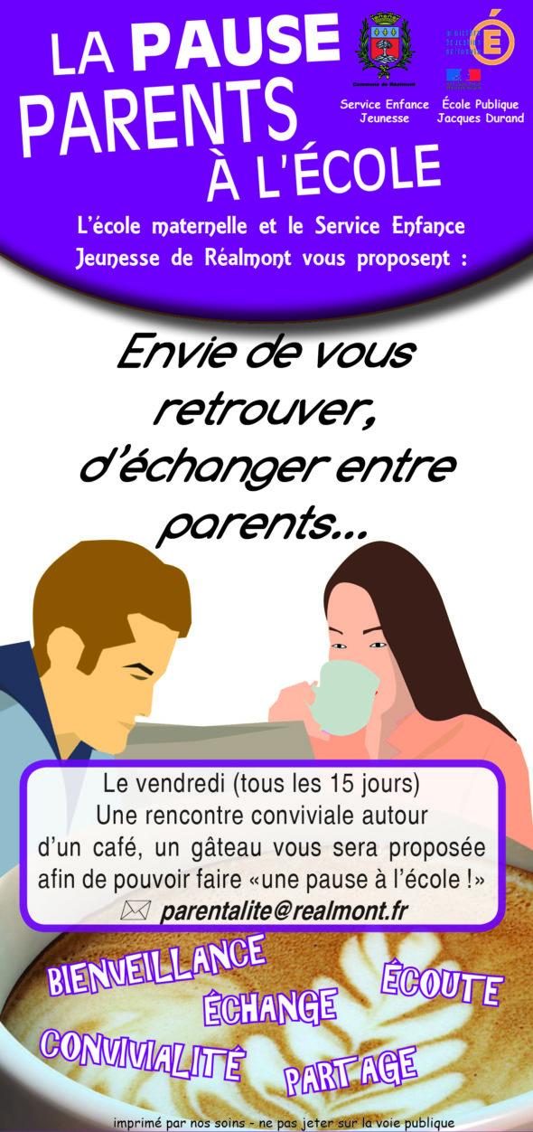 PAUSE PARENTS A L ECOLE REALMONT