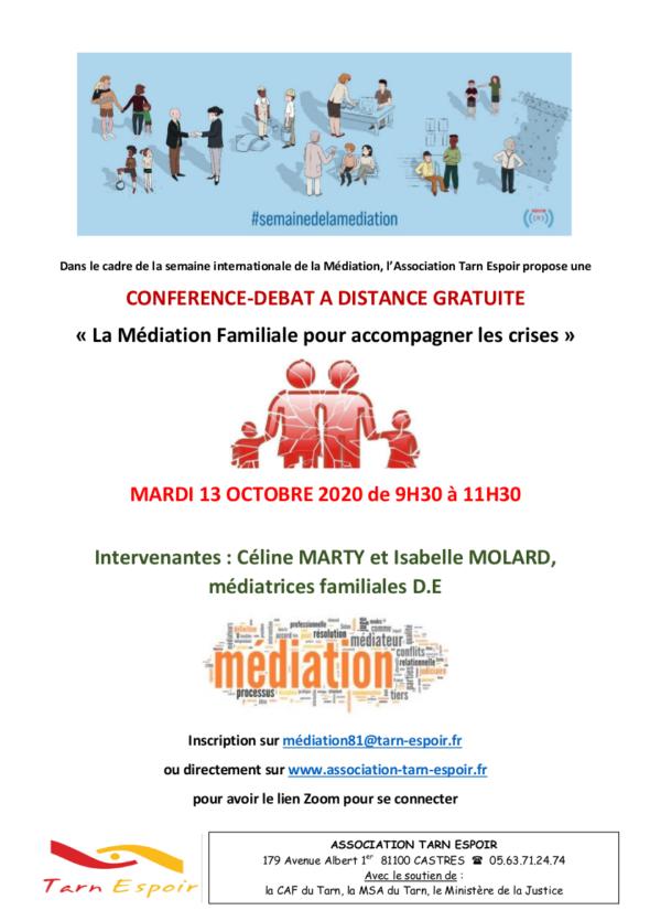 Conférence 13 octobre Mediation Tarn Espoir